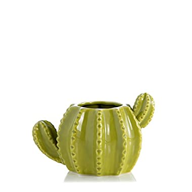 Baby Cactus Lime Green 6 x 3.5 Inch Ceramic Porcelain Tabletop Vase