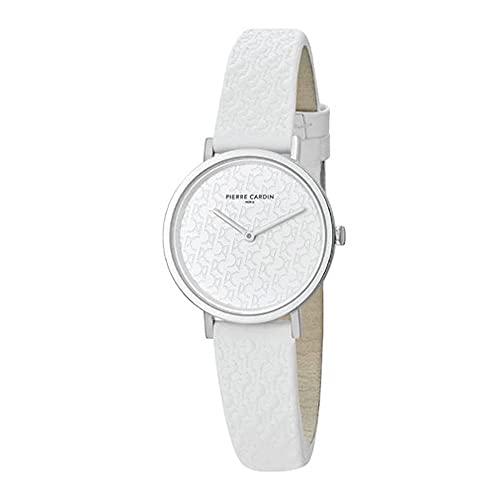 Pierre Cardin Reloj de pulsera de cuarzo para mujer de acero inoxidable con correa de piel – Belleville Monogram – CBV.1501