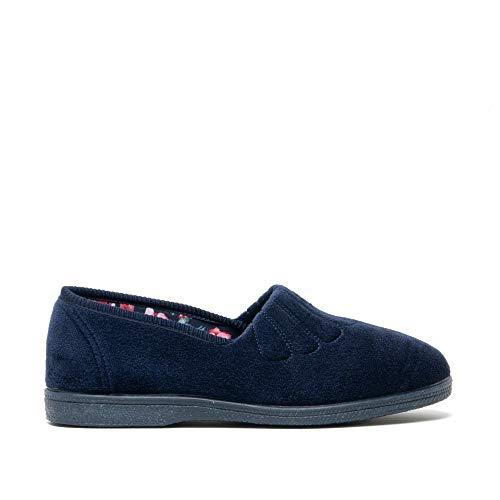 Sleepers Zara Ladies Fan Stitch Velour Slippers Navy Blue UK 5