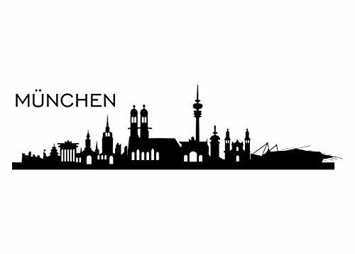 Wandtattooladen Wandtattoo - Skyline München Größe:120x31cm Farbe: dunkelblau
