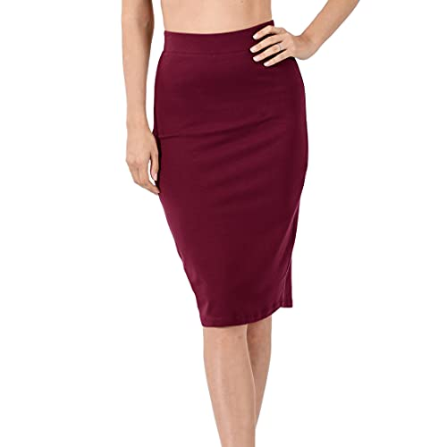 Nolabel 4562 Cotton Bodycone Ponte Basic Knee Length Pencil Skirt for Women Elastic Waist Band Wear to Work Wine, Large