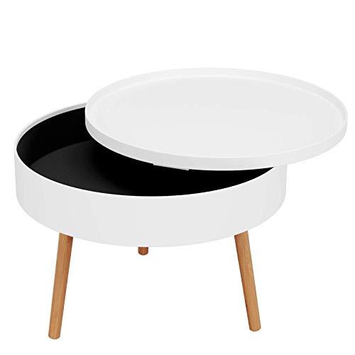Homfa Runder Couchtisch mit Stauraum Beistelltisch Sofatisch Kaffeetisch mit abnehmbaren Deckel für Wohnzimmer Schlafzimmer Holz Weiß 60x60x46cm