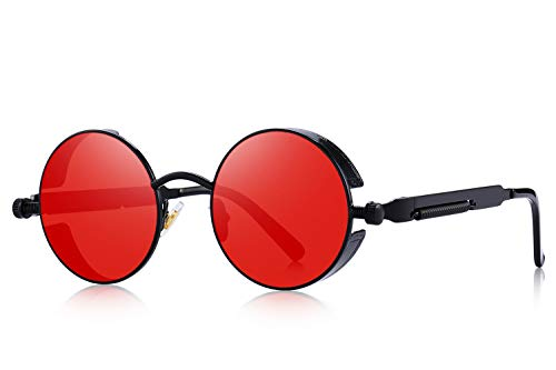MERRY'S Gothic Steampunk Sunglasses for Women Men Round Lens Metal Frame S567(Black&Red, 46)