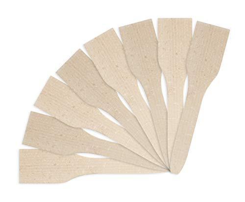 Bestron 8x Raclette-Schaber aus Holz, Holzspatel für Raclette's, naturbelassen, 19cm, Braun