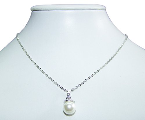 Halskette mit Perlen Swarovski Strass Anhänger - Zauberhafte Perlenkette mit Swarovski Steinen zum Dirndl, Brautkleid oder Abendkleid