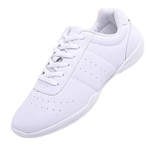 DADAWEN Damen Cheerleading Schuhe Mädchen Tanz Turnschuhe Yoga Training Schuhe, Weiß, 42 EU