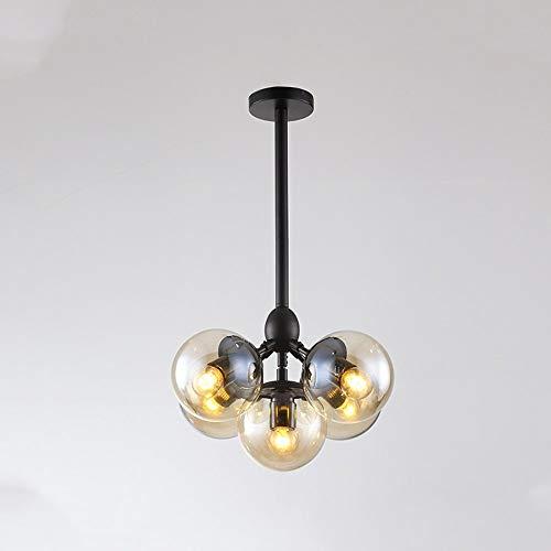 Araña retro de estilo europeo, araña de comedor de hierro forjado ajustable, araña de frijoles moleculares de vidrio ramificado, adecuado para comedor, dormitorio y sala de estar de iluminación de sal
