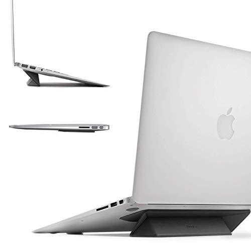 Ringke Laptop Ständer [Schwarz] Faltbar Schlank und Schwerlos Klebstoffs Notebook Laptopständer Belüftet Cooling Laptop Stand Kompatibel mit MacBook,Notebook, Tablet, eReader, Surface und Mehr