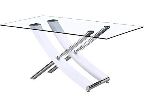 Mesa Diva en vidrio - 160 x 90 x 76 cm - Blanco laqcado 🔥