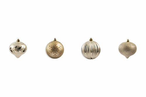 Galileo Casa Champagne Set de Boules de Noël, Beige, 10 x 10 x 10 cm, 4 unités