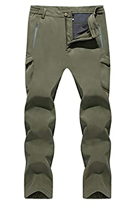 TACVASEN Men Tactical Fleece Lining Waterproof Climbing Hiking Hunting Cargo Pants Army Green,US 32