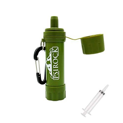 Filtro agua supervivencia accesorios con JERINGA | No necesita pastillas potabilizadoras de agua Bushcraft Vivac Acampada Filtro purificador de agua Supervivencia Filtro de agua personal portatil mini
