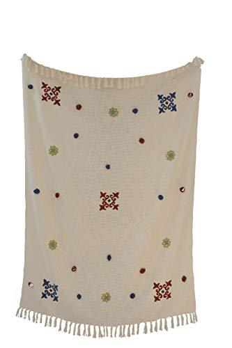 Trade Star Manta de sofá bordado, inspirado en marroquí, para decoración del hogar, de algodón, 130 x 180 cm, manta decorativa con borlas para sofá, cama y sofá (5)