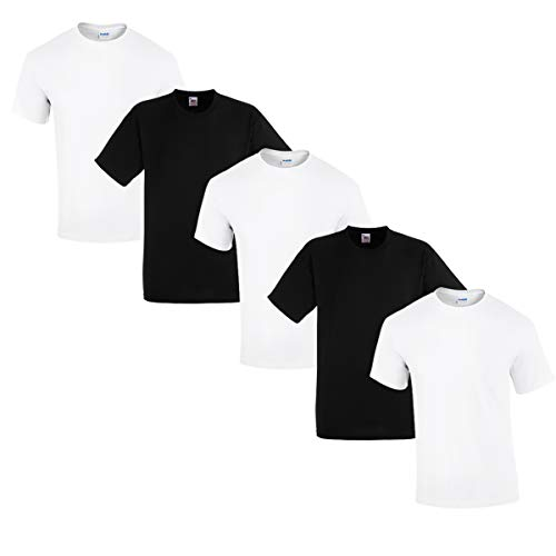 Gildan 5 Stück Heavy Cotton T-Shirt Herren Shirt S - 3XL Schwarz Weiß (L, 3Weiss/2Schwarz)