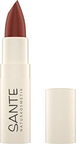 Sante Naturkosmetik Moisture Lipstick 06 Hazel Red, Lippenstift, Transparente bis intensive Farben, Mit Hyaluronsäure, Zart pflegend & sanft schützend, 4,5g