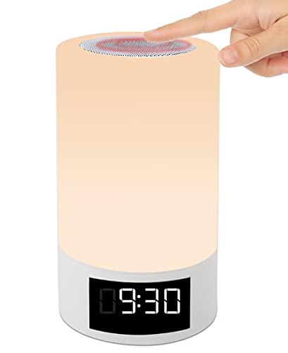 Lampe de Chevet Tactile Enceinte Lumineuse Multicolore Rechargeable KAMARLIS Veilleuse LED Lampe de table Bluetooth Radio Réveil Fm Mp3 Dimensions H18cm Ø10,2cm