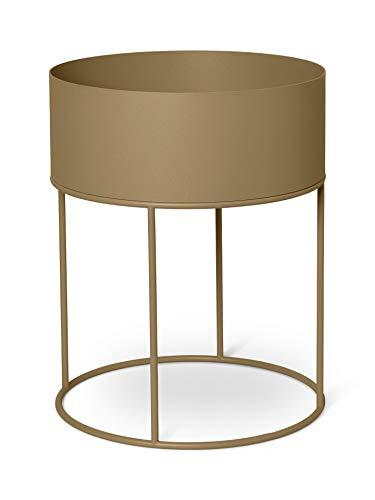 Ferm Living Living rundes Pflanzenregal Plant Box Round, Farbe Oliv-Grün, pulverbeschichtetes Metall, Durchmesser 40 cm, H 50 cm, 1104263191