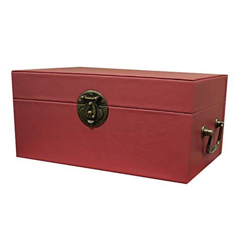 Maleta Vintage, Maleta De Cartón, Caja De Exhibición De Acabado Chino Modelo Sala Exposición Caja De Decoración De Joyería, 3 Tamaños GGYMEI (Color : Red, Size : 40x30x20cm)