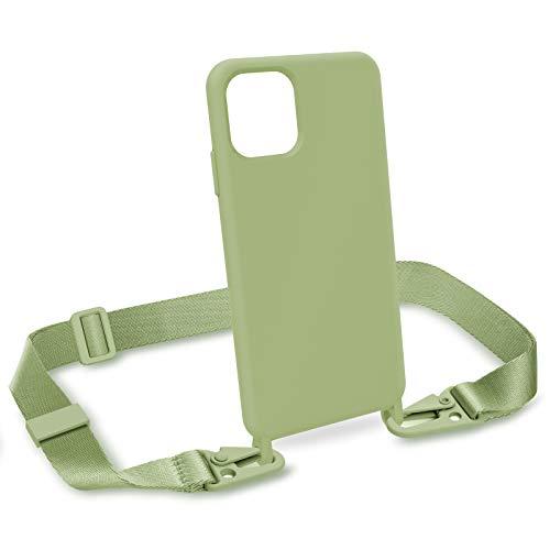 """ZhinkArts Handykette kompatibel mit Apple iPhone 11 Pro Max - 6,5\"""" Display - Smartphone Necklace Hülle mit Band - Handyhülle Silikon Case mit Kette zum umhängen in Grün Modular"""
