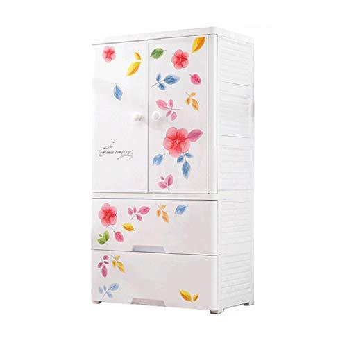 TXXM Barns garderob Öka förtjockning Pardörr förvaringsbox låda typ av plast klädskåp (Color : B)