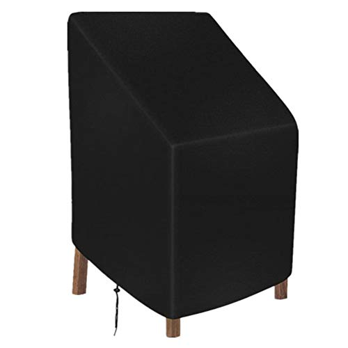 wide smile Garden Chair Cover Patio Stacking Chair Cover Waterproof 420D Oxford Fabric Outdoor Protective Cover for Stackable Chairs Anti-UV 89x89x120/89cm Black
