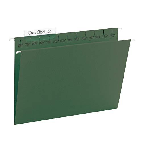 Smead TUFF Hanging File Folder with Easy Slide Tab, 1/3-Cut Sliding Tab, Letter Size, Standard Green, 20 per Box (64036, Rod Color May Vary)