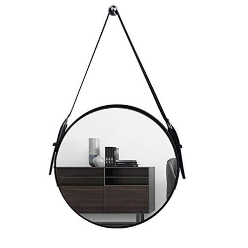 Meng Wei Shop Spiegel Badezimmerspiegel aus Leder Wandbehang dekorativer Spiegel Badezimmerspiegel runder hängender Spiegel der Restaurantwandkunst