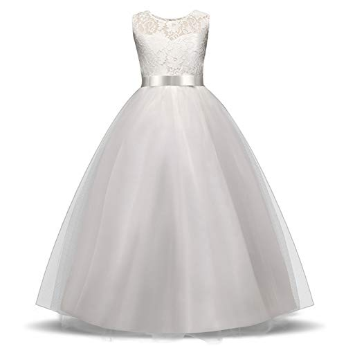 Princes Dresses Lace Tulle Round Neck Sleeveless Satin Bow Sash Flower Girl Dress A-Line Vintage Party Pageant Prom Dresses Ball Gown for Girls 11-12 Years Old White