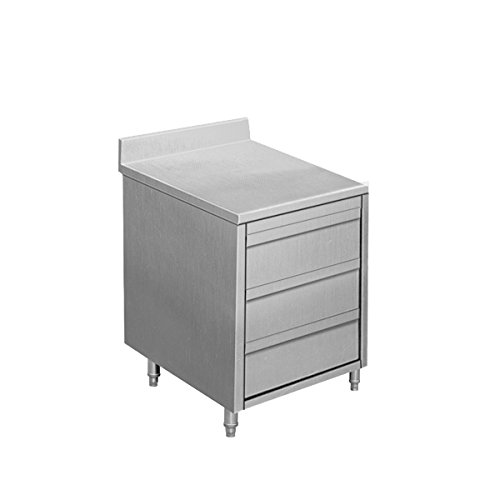 EQ Kitchen Line Stainless Steel Commercial 3-Drawer Wheeled Cabinet with Backsplash, 19.7'L x 27.6'W x 37.5'H