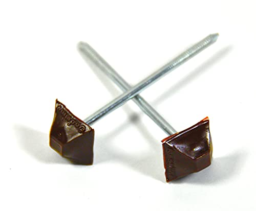 Dachnägel Nägel für Bitumenwellplatte Wellplatten Kunststoffkopf Nagel eckig braun, Stück:200