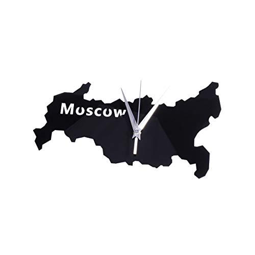 BESPORTBLE Relógio de parede acrílico exclusivo com mapa da cidade criativa Relógio pendurado parede Decoração para hotel de escritório bateria- Moscou Casa