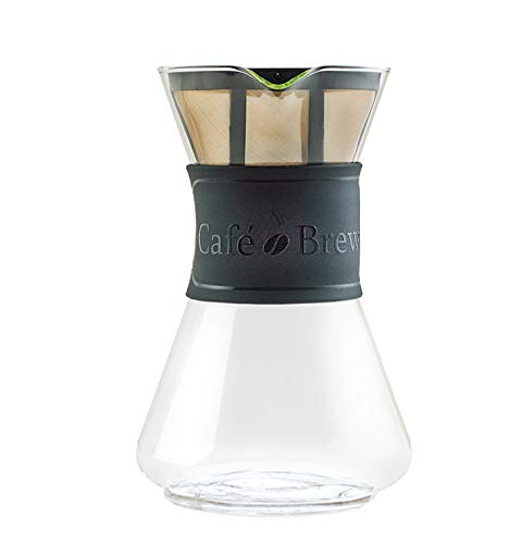 CAFE BREW COLLECTION High End Pour Over Coffee Maker with Permanent BPA Free #4 Coffee Filter/Coffee Dripper- Heat Resistant DURAN Borosilicate Glass 8 Cup (40 oz) Carafe & Black Silicone Comfort Grip