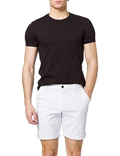 Marque Amazon - MERAKI Coton Coupe Régulière Chino, Shorts Homme, Blanc (Blanc), S