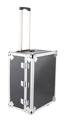 IQE-Storage Transportbox TB-2R mit Rädern und Teleskop-Griff, LxBxH: 50 x 40 x 26 cm, Schwarz, Transportkoffer mit Aluminiumrahmen, Box, Koffer, Kiste