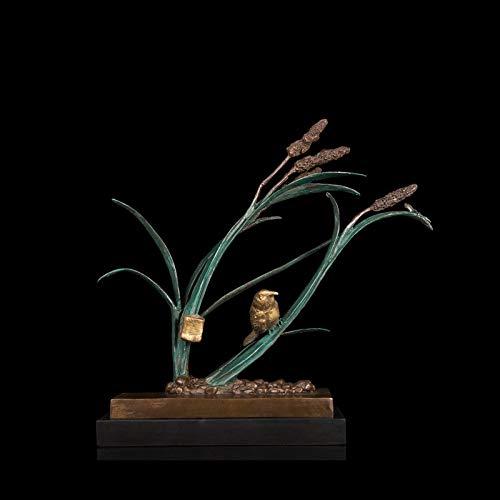 YOUZE Klassieke beeldjes Landelijke wind Vogel Op Plant bronzen beelden huisdecoratie hot cast beelden