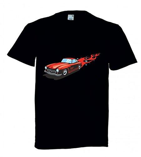Camiseta con diseño de coche deportivo clásico con llamas rojas America Amy USA Auto Car Ampliación V8 V12 Motor Llanta Tuning Mustang Cobra para hombre mujer niños 104 – 5 x l Negro  Mujer Gr.: X-Small
