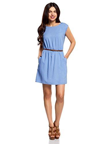 oodji Ultra Damen Viskose-Kleid mit Gürtel, Blau, DE 42 / EU 44 / XL