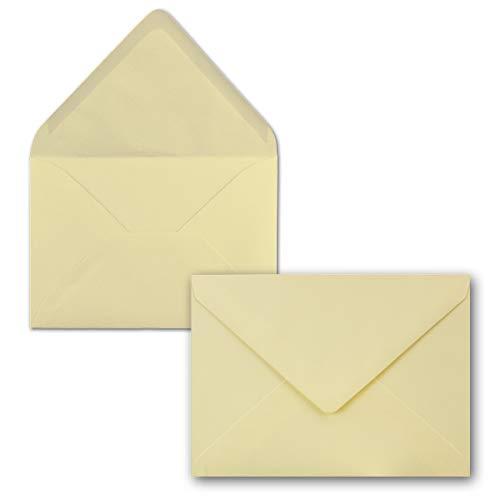50 Brief-Umschläge - Vanille-Creme - DIN C6-114 x 162 mm - Kuverts mit Nassklebung ohne Fenster für Gruß-Karten & Einladungen - Serie FarbenFroh