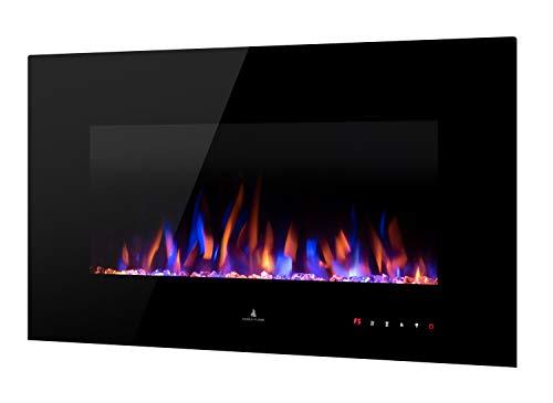 Noble Flame Vegas 900 Schwarz - Elektrokamin Wandkamin Kaminofen Kamin - Wandmontage Fernbedienung - Verschiedene Breiten