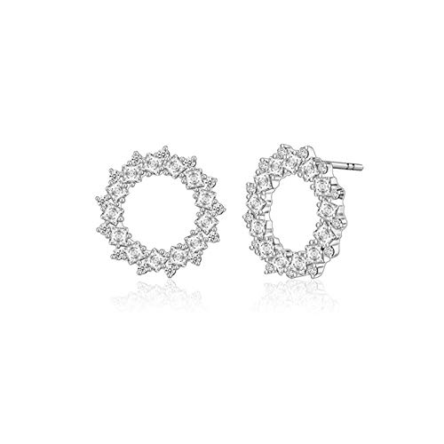 N-B S925 Silver Inlaid Zircon Earrings Japanese And Korean Wild Geometric Temperament Women'S Earrings Hollow Fashion Temperament Earrings