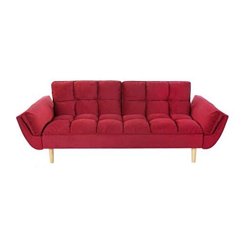 Shiito - Sofá Cama 3 Plazas con Estilo nórdico, Confortable en Color Rojo y Patas en Madera tapizado en Poliéster MB-162872