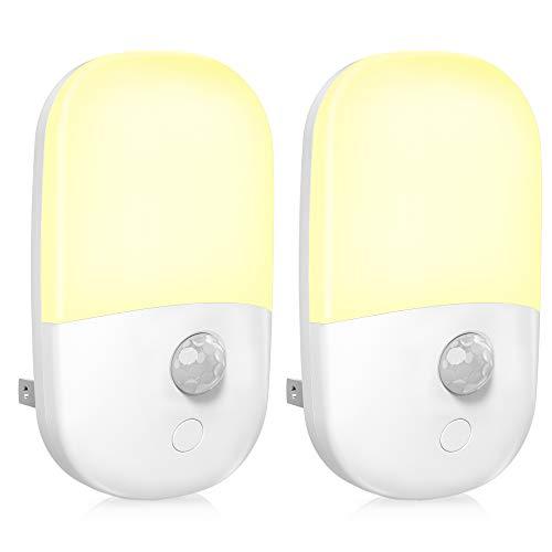MAZTEK Plug in Motion Sensor Dimmable Night Light Soft Warm White LED Nightlight with Dusk to Dawn Motion Sensor Adjustable Brightness for Bedroom Bathroom Kitchen Hallway Stairs2 Pack