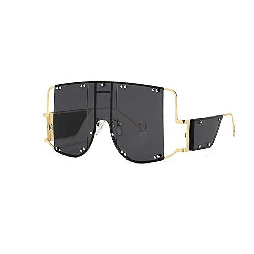 HHZ Las Gafas de Sol rectangulares polarizadas de Las señoras, Gafas de Sol de Marco Grande de Metal, Gafas de Sol clásicas Anti-UV, Gris