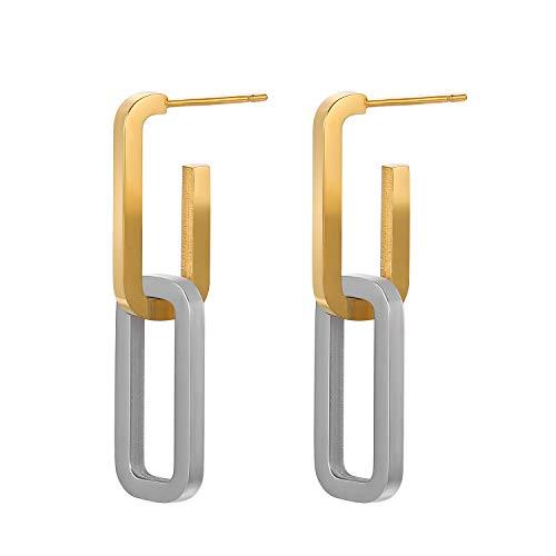 Fluidable Be Chic - Pendientes de mujer con eslabones máximos chapados en oro de 18 quilates, acero inoxidable chapado en plata