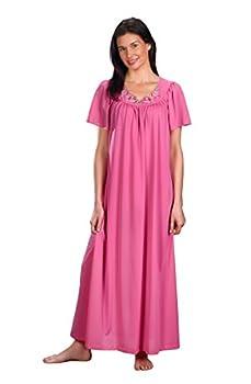 Shadowline Women s Plus Size Petals 53 Inch Short Flutter Sleeve Long Gown Rosy Pink 3X