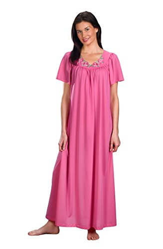 Shadowline Long Gown with Flower Petal Embroidery and Flutter Sleeves (32280 ROSY PINK) 1X