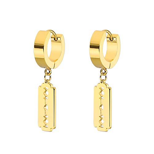 Pendientes Mujer Moda Hombres Mujeres Círculo Pendientes Titanio Acero Color Oro Cuadrado Clip De Oreja Pendiente De Aro Joyería-Oro