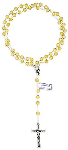 Vatican Imports Crystal Rosary Beads for First Communion (Topaz)