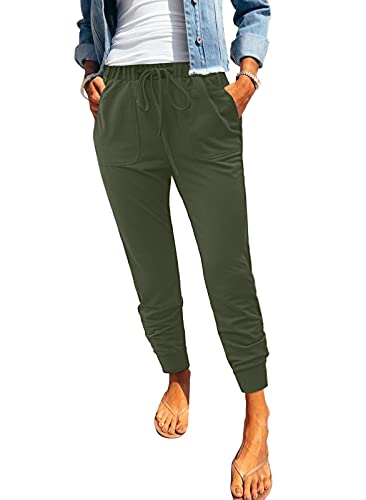 ROSKIKI Womens Joggers Pants Athletic Ladies Solid Casual Drawstring Elastic Waist Sports Yoga Track Cuff Trousers Lounge Pants with Pockets Sweatpants Green Medium