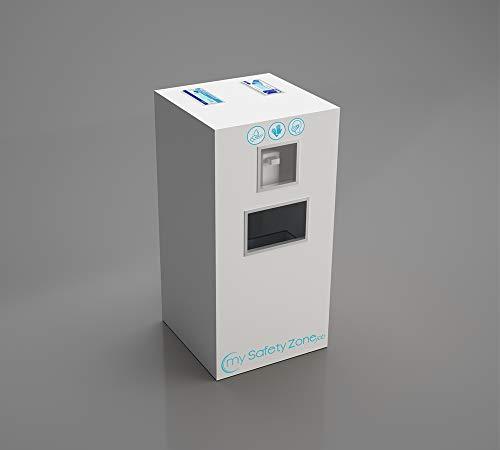 Stazione Igienica My Safety Zone Job, in melaminico, con diversi vani utili ad ospitare distributore DPI personali + dispenser gel mani e rifiuti. 5 colori disponibili (Bianco)